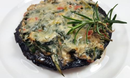Überbackener Portobello mit Spinat